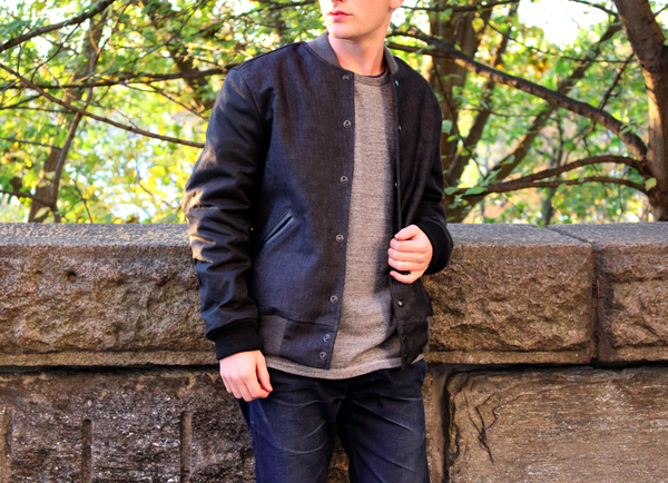 Raw Denim Bomber Jacket