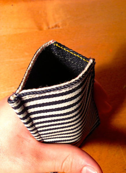 Raw Selvedge Denim iPhone Sleeve; Indigo Stripe-Lined