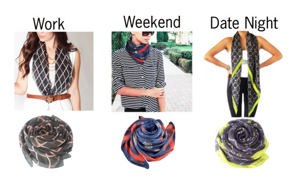 How to wear silk scarf from day to night; Terracotta New York Charlie, Bailey and Skylar silk scarves