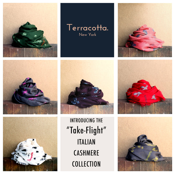 Introducing Terracotta's Take Flight Cashmere Scarf Collection for Fall Winter