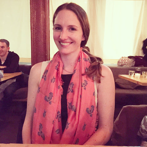 London based Petra wearing the Harlow Hummingbird Scarf by Terracotta New York
