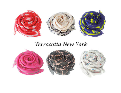 Luxury Silk Scarves collection from Terracotta New York, a women's accessories company co-founded by two female entrepeneurs.