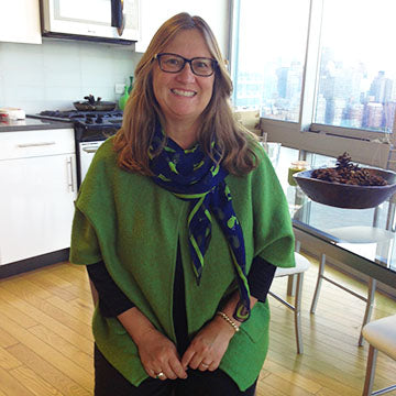 Silk Scarf in Whitney Whale pattern worn by Terracotta New York customer