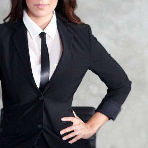Black Leather Women's Suit and Tie.