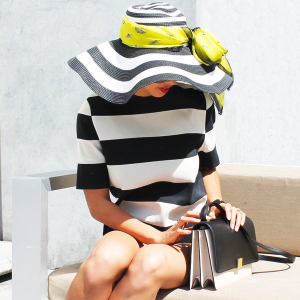 Top Off Your Look with a Wide-Brim Hat! Styled with Bijou Silk Scarf in Lemonade by Terracotta New York
