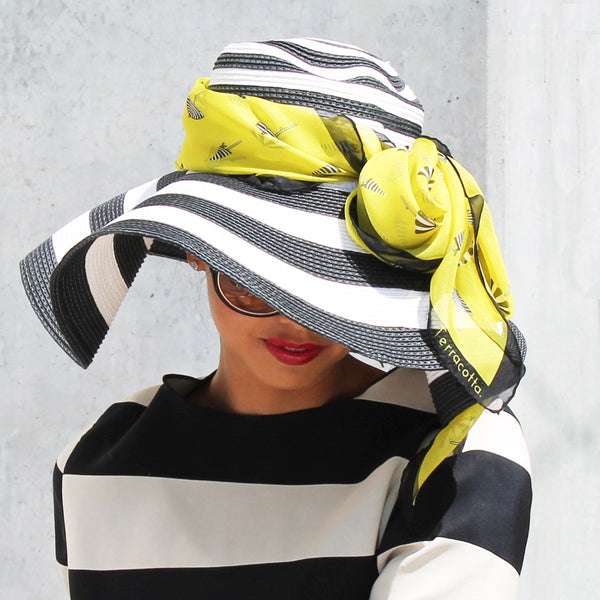 Silk Scarf Bijou Lemonade styled with hat Lifestyle photo 2