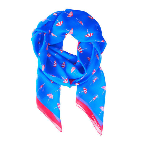 Bijou Beach Umbrella Silk Scarf - Terracotta New York