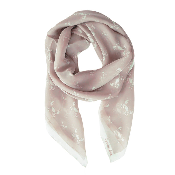 Cary Crab Silk Scarf - Terracotta New York