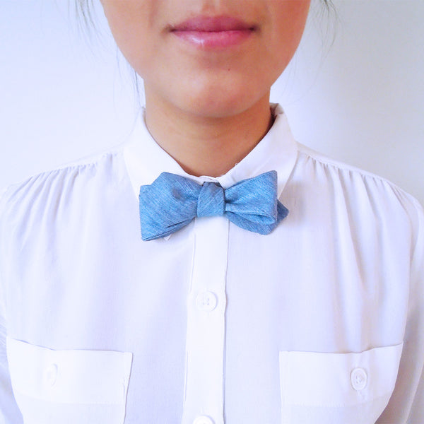 Dylan Blue Denim Women's Bowtie. - Terracotta New York