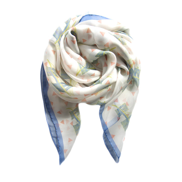 NYC Brooklyn Bridge Italian Silk Scarf - Terracotta New York