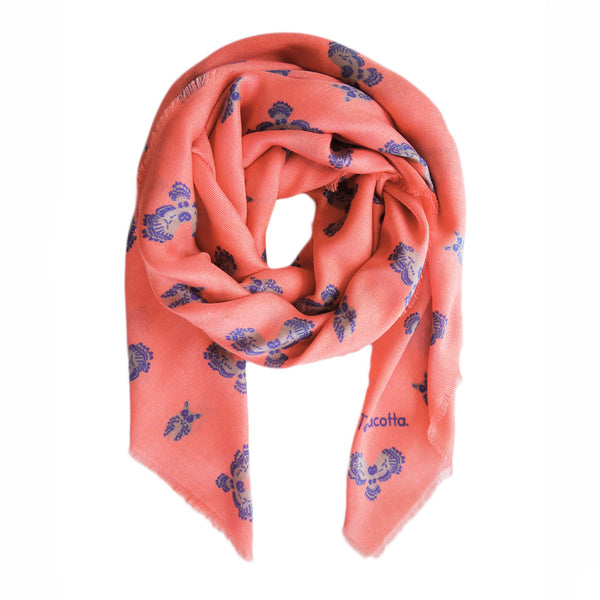 Olin Owl Cashmere Scarf - Terracotta New York