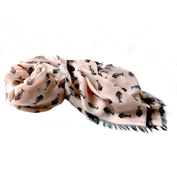 Fishbone Italian Cashmere Scarf Pink