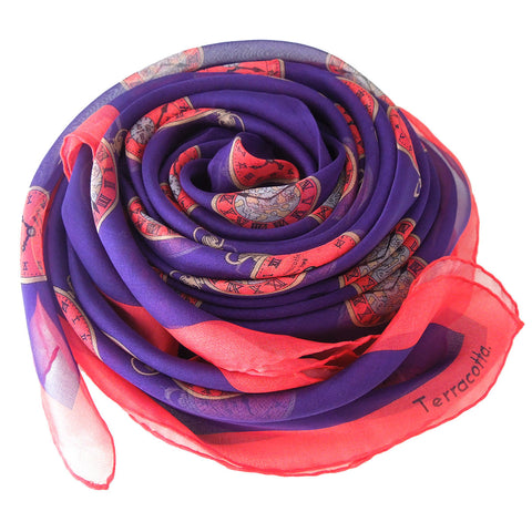 Paris Pocket Watch Silk Scarf - Terracotta New York