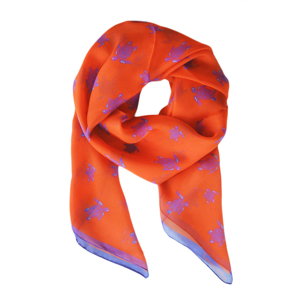 Selby Sea Turtle Silk Scarf - Terracotta New York