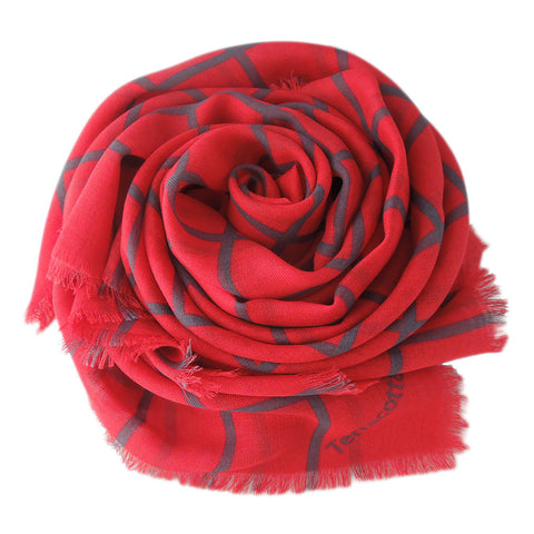 Charlie Checker Silk Scarf - Terracotta New York
