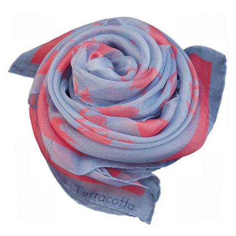 Presley Penguin Silk Scarf - Terracotta New York