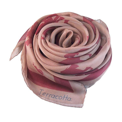 Ettie Elephant Silk Scarf - Terracotta New York