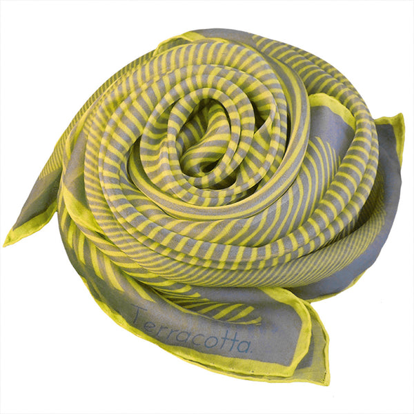 Sidney Stripe Silk Scarf - Terracotta New York