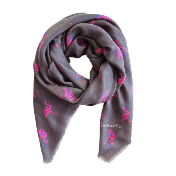 Flannery Flamingo Cashmere Scarf - Terracotta New York