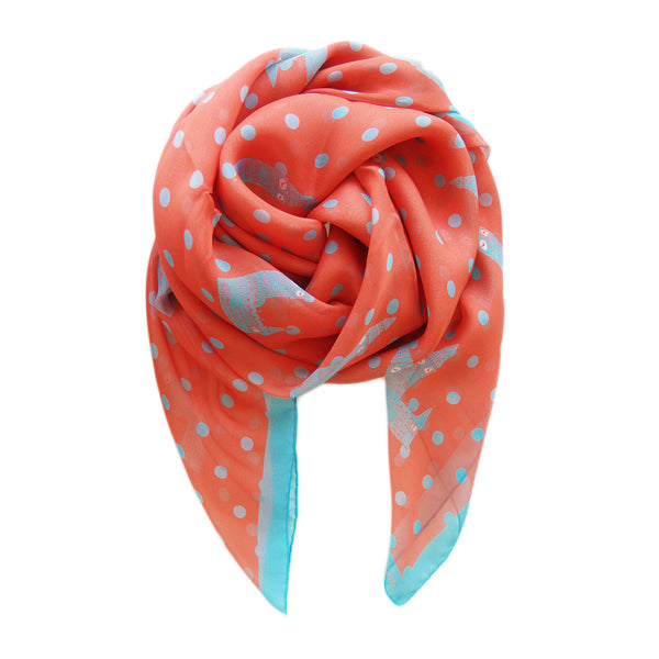 London Big Ben Italian Silk Scarf - Terracotta New York
