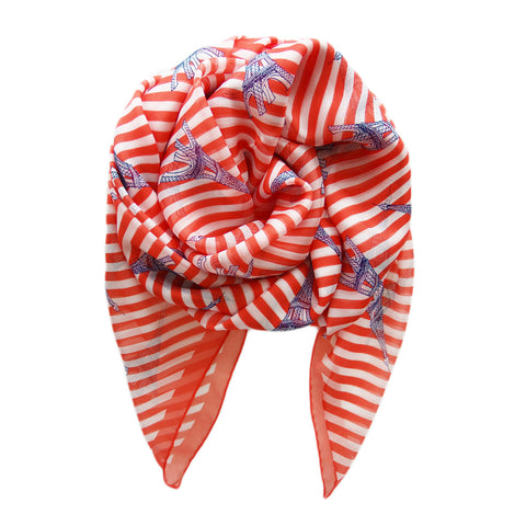 Paris Eiffel Tower Italian Silk Scarf - Terracotta New York