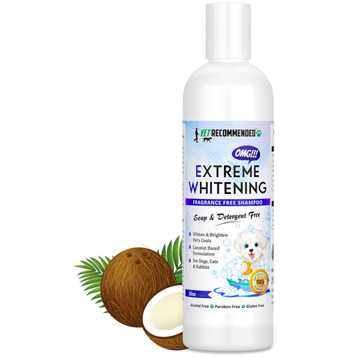 OMG Extreme Dog Whitening Shampoo (16 Oz/473ml) - Coconut Based 100% Safe - Free from Soaps, Detergent, Bleach & Fragrance