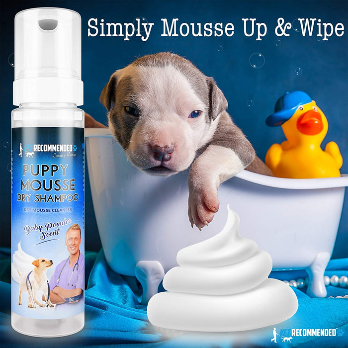 Vet Recommended - Puppy Shampoo - Waterless Dog Shampoo - No Rinse Dry Foam Mousse - Fur Baby Powder Scent - Made in USA (8oz/240ml)