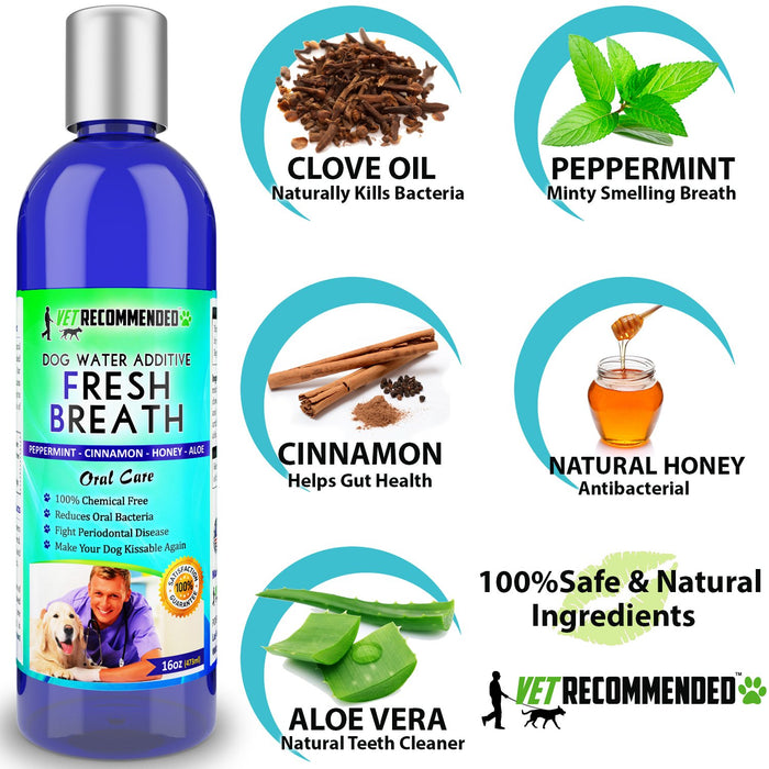 Vet Recommended - Dog Breath Freshener Water Additive for Pet Dental Care - All Natural - Works to Eliminate Germs That Cause Bad Dog Breath. Add to Pet's Drinking Water - Made in USA (16oz/473ml)
