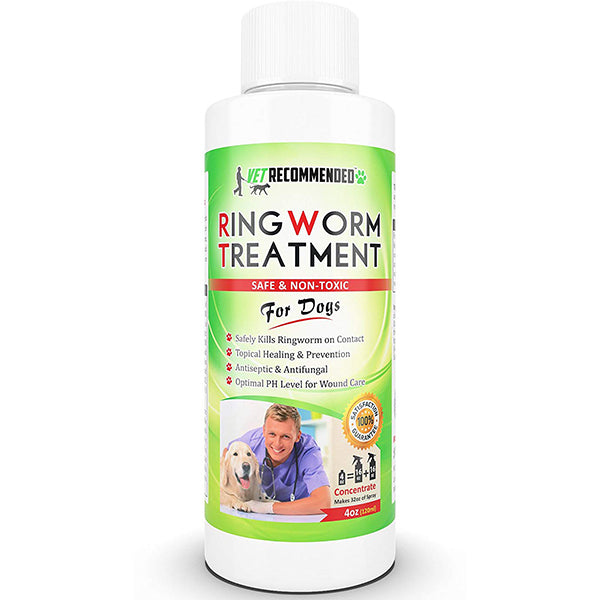 Vet Recommended - Ringworm Treatment For Dogs - Concentrate Makes Two 16oz Bottles of Antifungal Spray Safely Kills Viruses, Disease Causing Bacteria, Spores and Fungi - Made in USA (4oz/120ml)