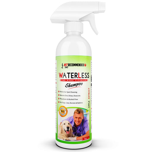 Vet Recommended - Waterless Dog Shampoo - No Rinse Dry Shampoo for Dogs, Detergent and Alcohol Free, Apple Extract - Perfect for Spot Cleaning The Dog Coat - Made in The USA (16oz/473ml)