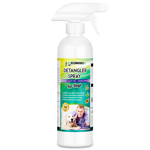 Dog Detangler Spray - Papaya Extract to Remove Matts and Rejuvenate Coat Using Our Dog Detangling Conditioner - Extracts of Jojoba and Aloe Vera - Made in USA (16oz/473ml)