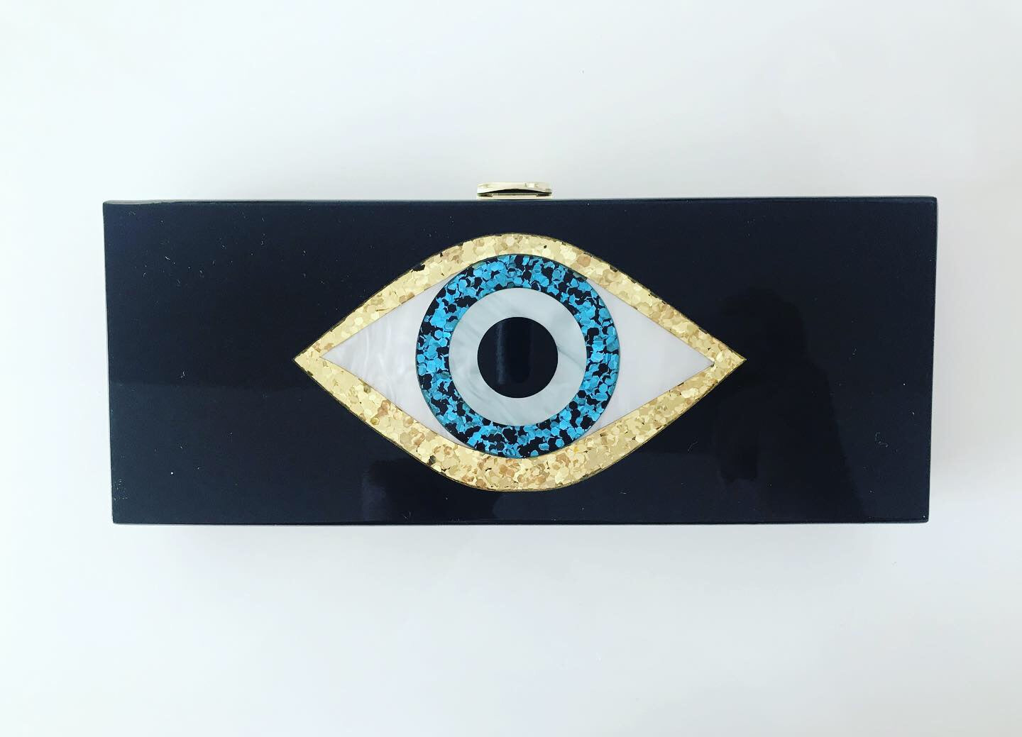 Black Acrylic Clutch with Glitter Evil Eye