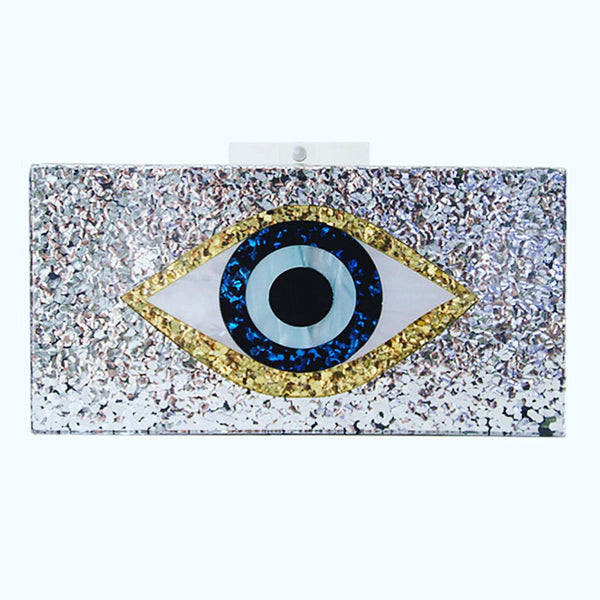 Silver Acrylic Evil Eye Clutch