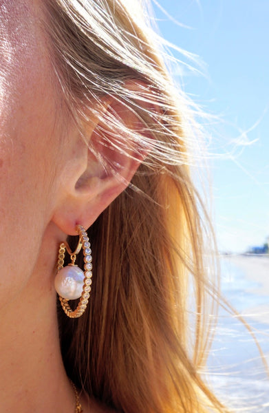 Floating Pearl Hoops