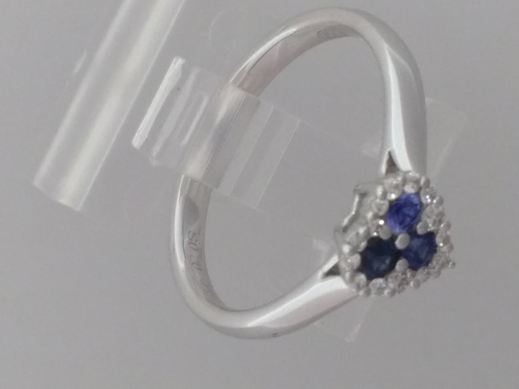 18ct heart shape Sapphire and Diamond ring