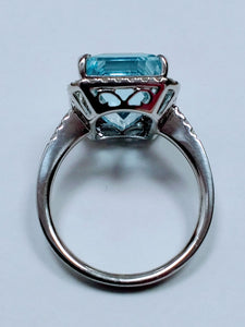 White gold Square Aquamarine and Diamond Halo Ring