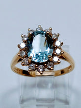 Load image into Gallery viewer, Aquamarine and Diamond Ring