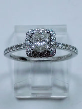 Load image into Gallery viewer, Princess Cut Diamond Halo Ring