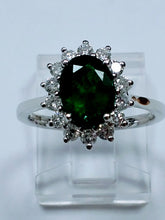 Load image into Gallery viewer, White Gold Emerald and Diamond Cluster Ring