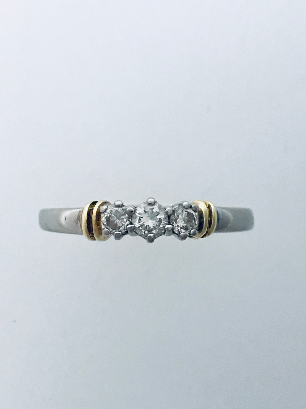 18ct Two Tone Diamond 3 Stone Ring