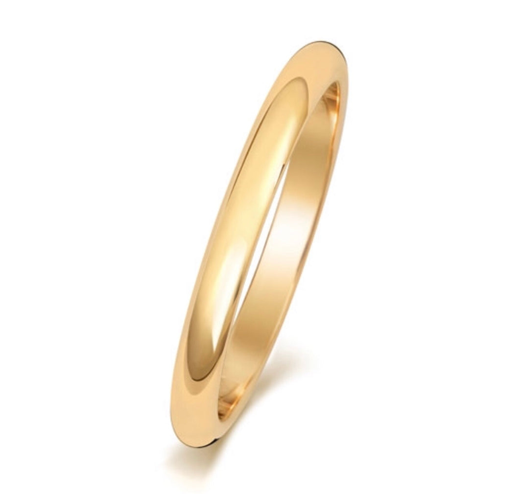 9ct Yellow Gold D Shape Wedding Band