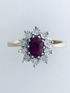 9ct Yellow Gold Ruby & Diamond Cluster Ring