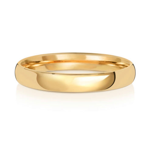 9ct Yellow Gold 3mm Court Wedding Band