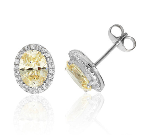 Sterling Silver Yellow CZ Earrings