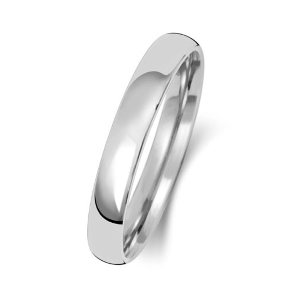 9ct White Gold 3mm Court Wedding Band