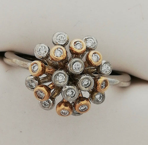 18ct Two Colour Gold Diamond Ring