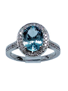White Gold Aquamarine  and Diamond Halo Ring