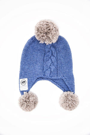 Hand knitted organic cotton beanie. Blue beanie with grey pom poms