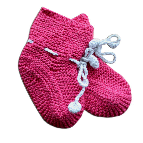 Hand Knitted Booties - Cherry Kee