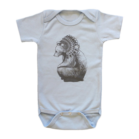 Brocky Bear Onesie Grey / Blue